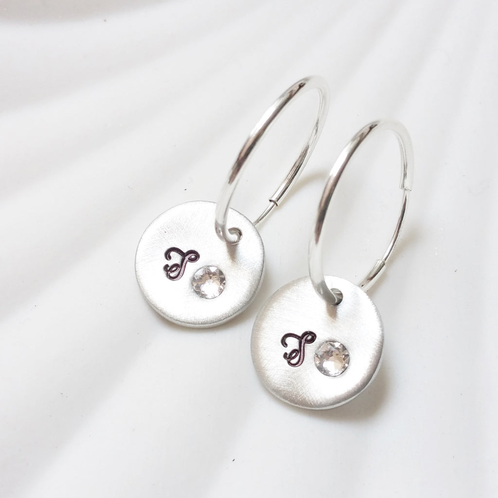 Birthstone Initial Earrings | Initial Charm Hoop Earrings