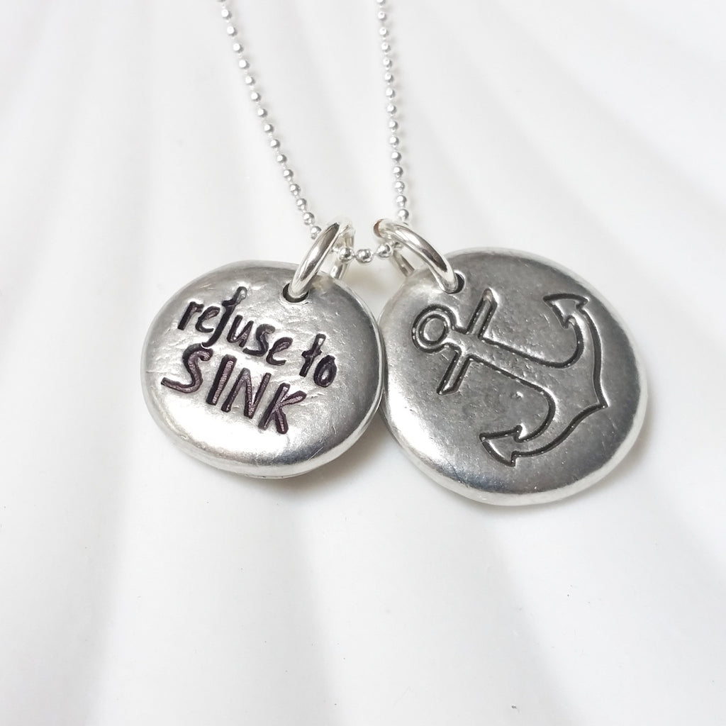 Refuse to Sink | Large Anchor | Pebble Necklace