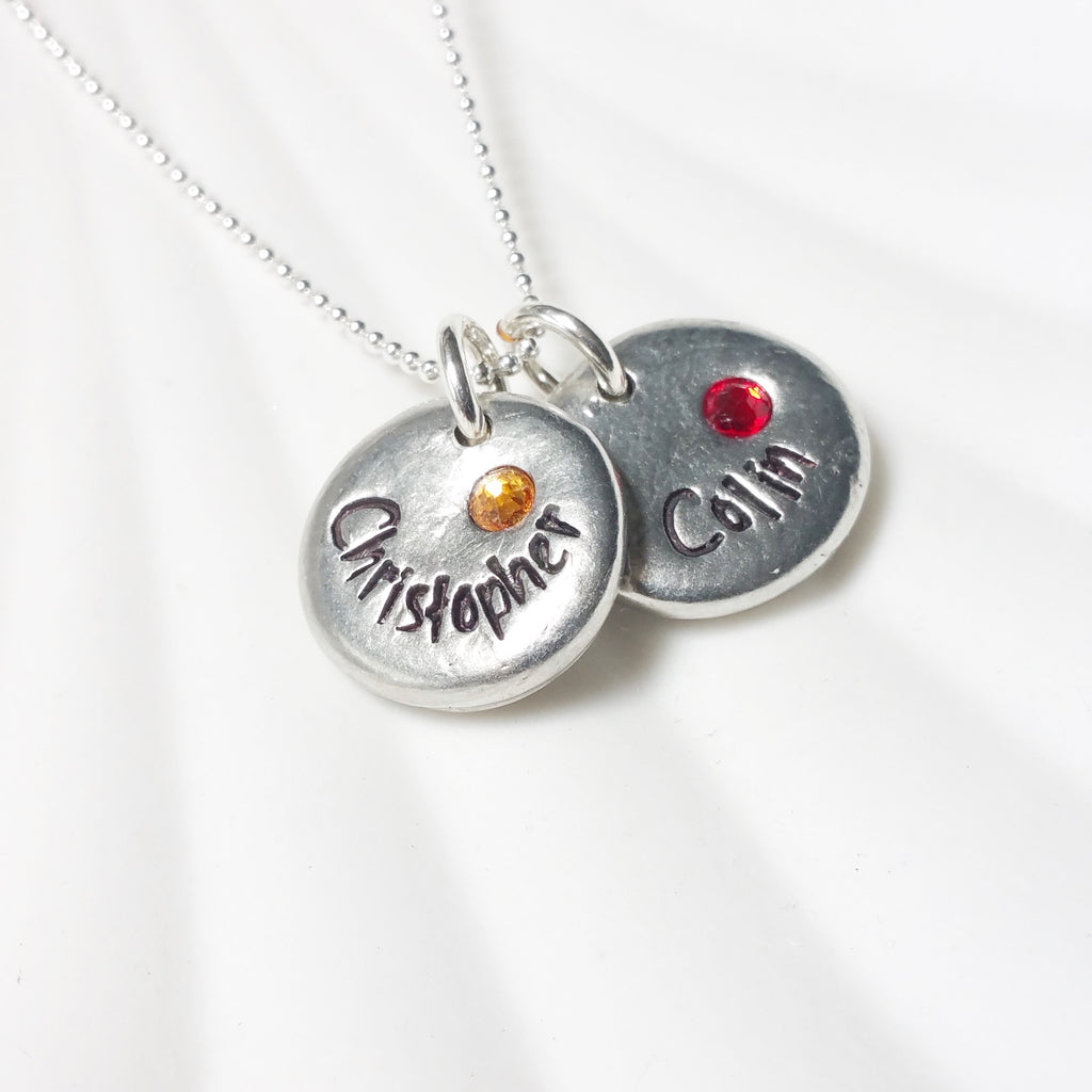 Pebble Name Neckace | Birthstone Mother's Necklace
