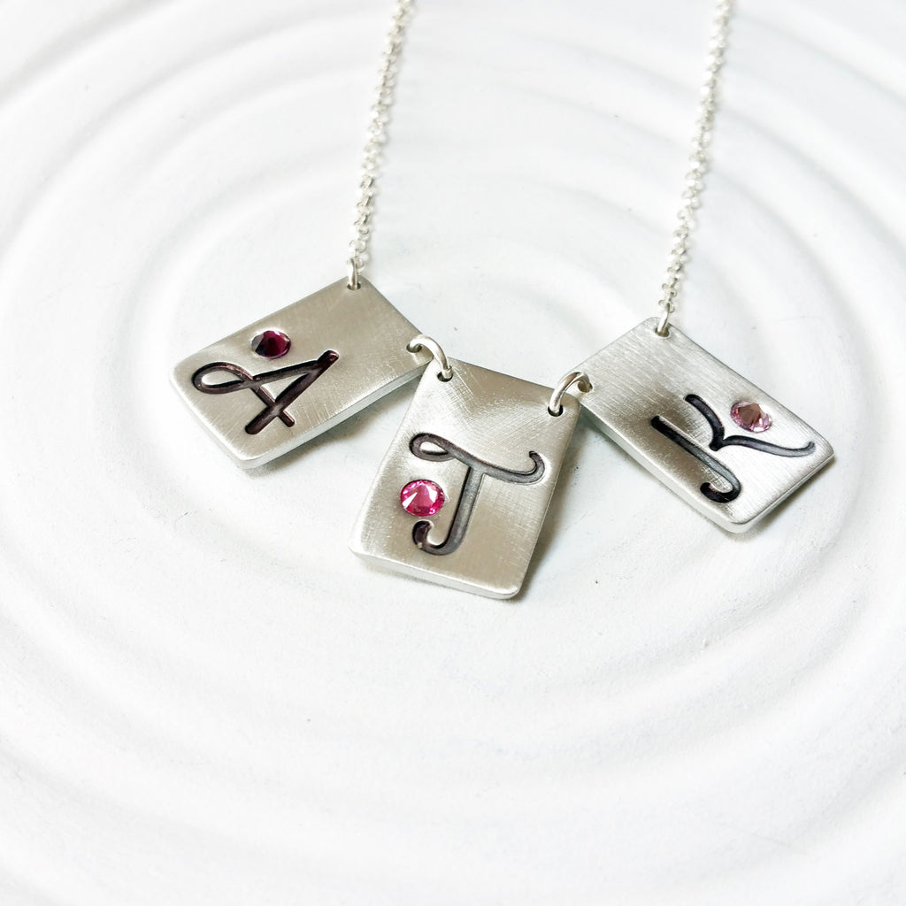 Rectangle Bunting Initial Necklace | Birthstone Jewelry