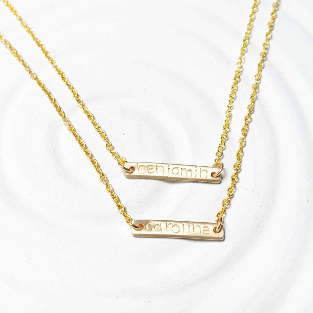 Layered Bar Necklace | Golden Glow Name Necklace