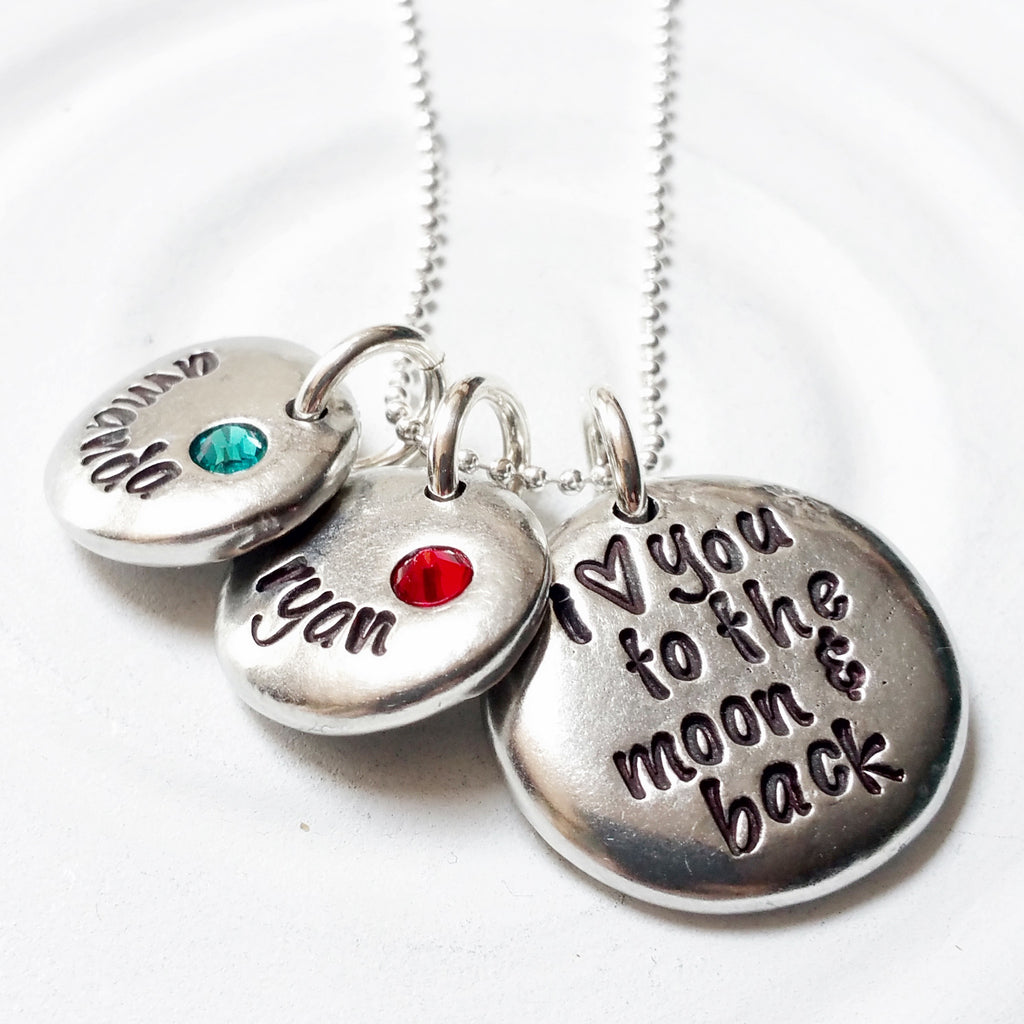 I Love You To The Moon & Back | Birthstone Name Necklace