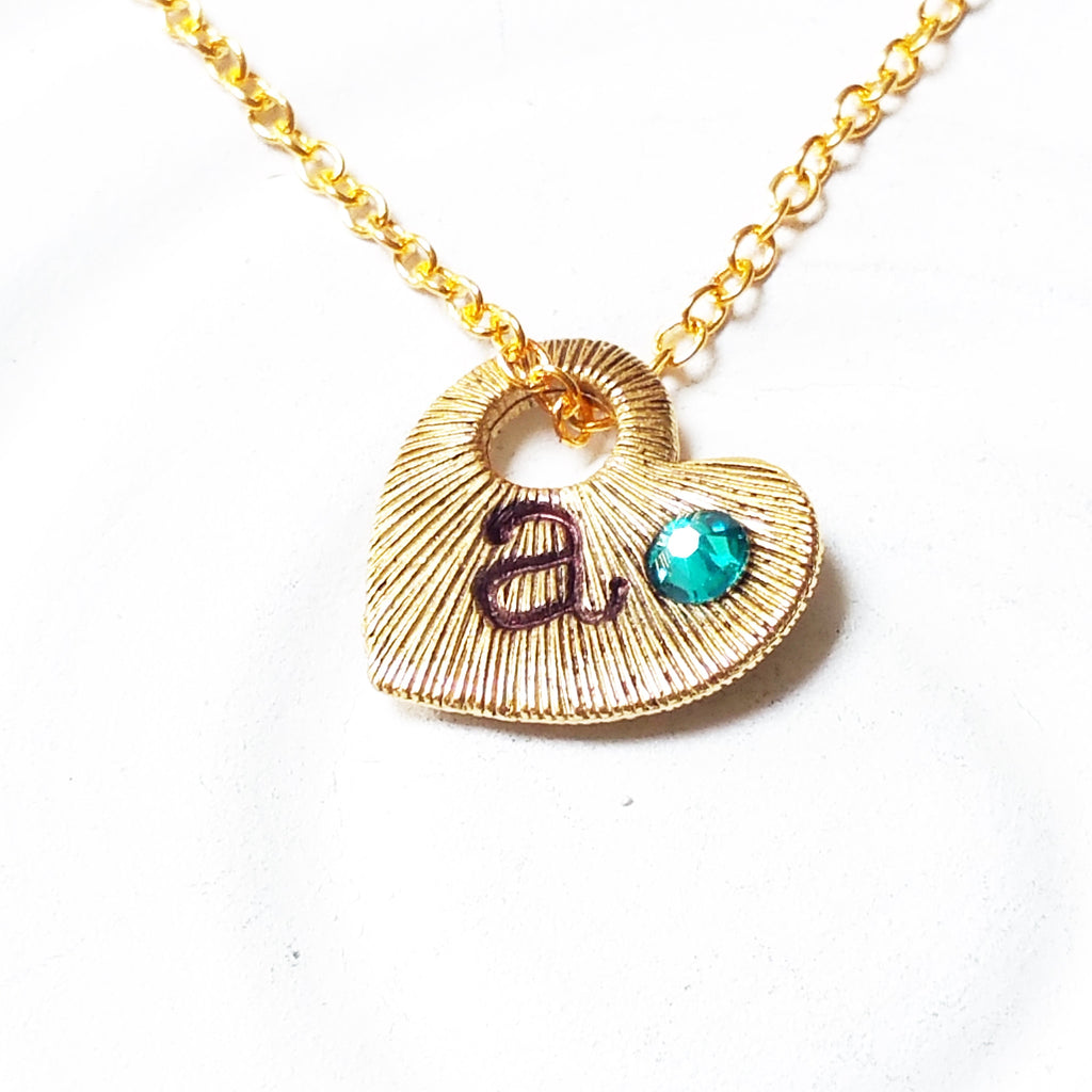 Textured Heart Initial Necklace | Birthstone Mother's Necklace