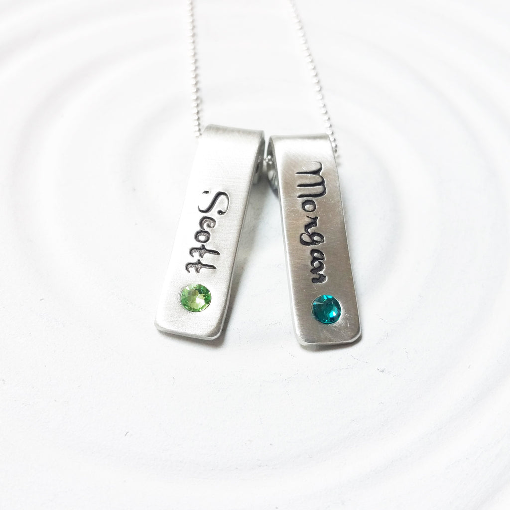 Rolled Top Birthstone Tag Necklace | Mother's Necklace