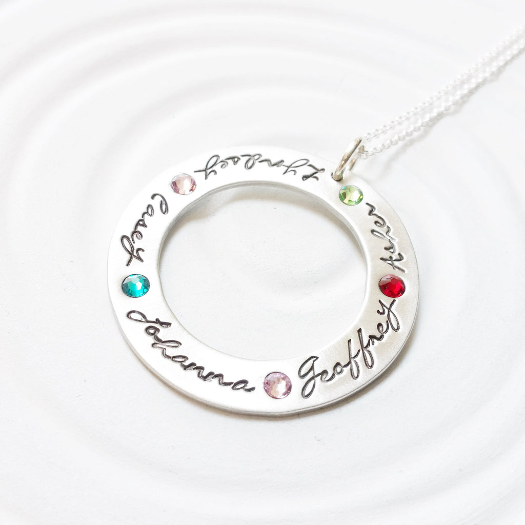 Large Birthstone Washer | Long Chain Option