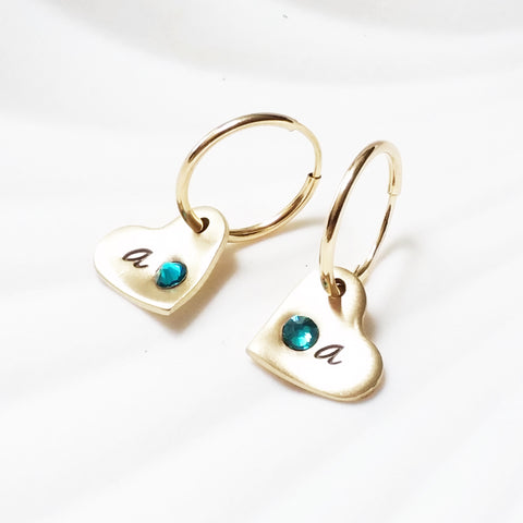 Birthstone Heart Initial Earrings | Gold Filled Hoop Earrings