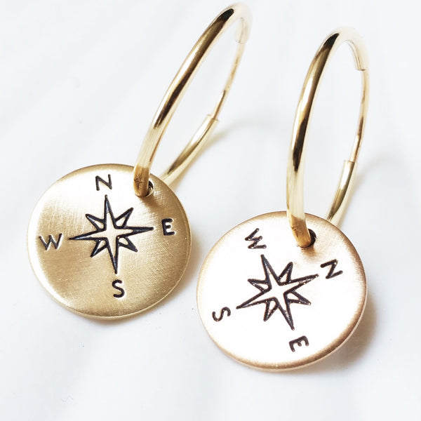 Compass Earrings | Gold Filled Or Sterling Silver Hoop Earrings