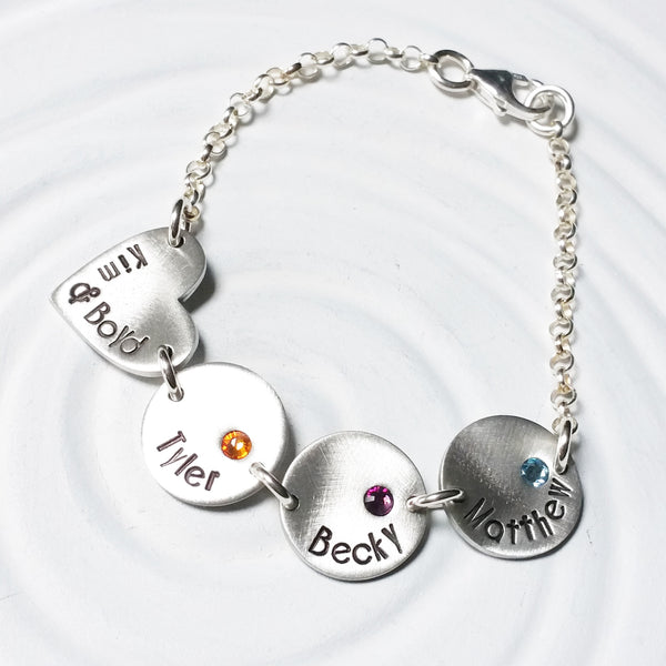 Family Bracelet | Couple Charm and Children's Birthstone Bracelet