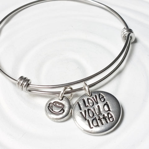 I Love You A Latte | Adjustable Bangle Bracelet