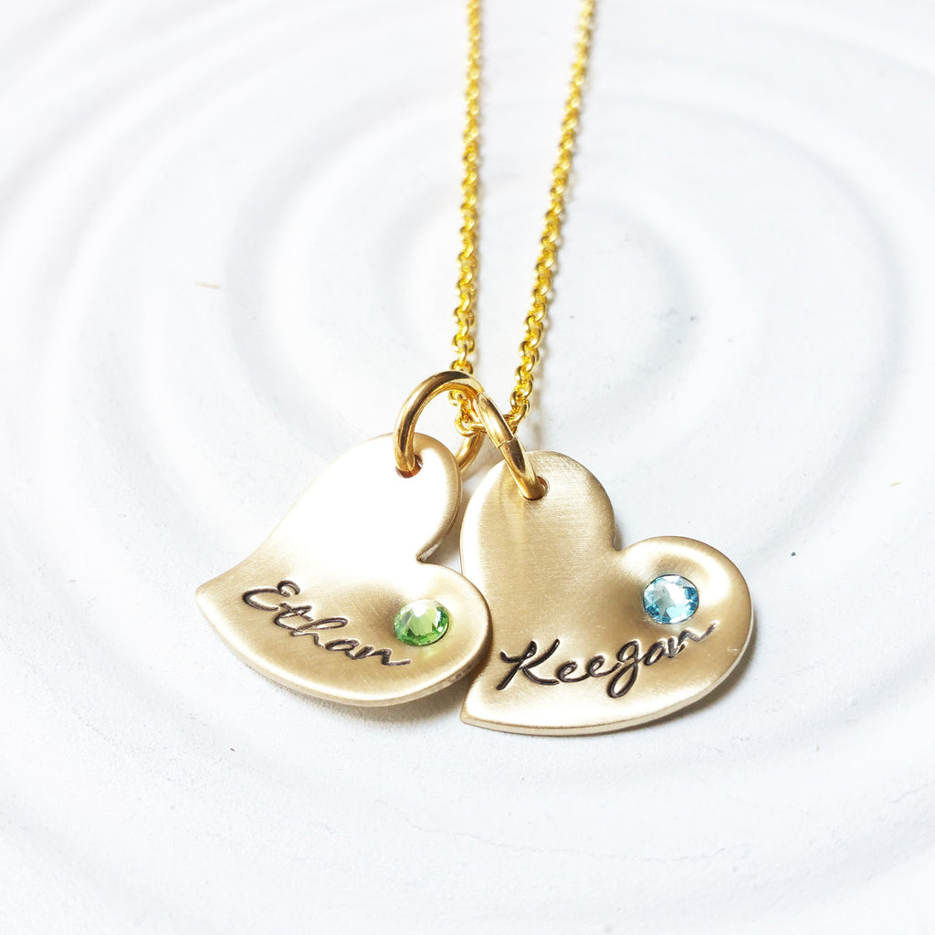 Birthstone Hearts Necklace | Tilted Heart Charms
