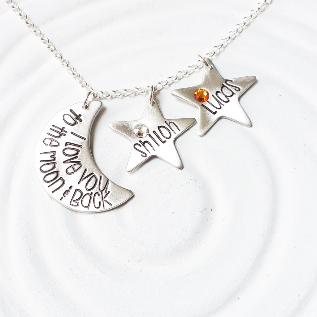 I Love You To The Moon & Back | Moon & Stars Necklace