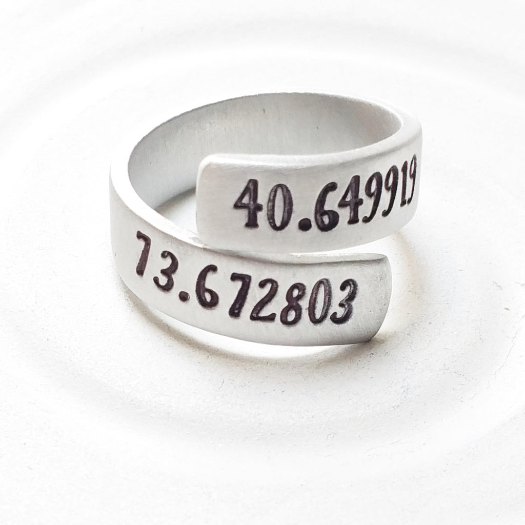 Latitude and Longitude Ring | Coordinates Wrap Ring