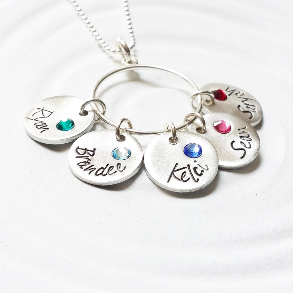Name and Birthstone Disc Necklace | Charm Ring Necklace