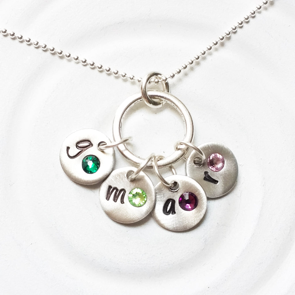 Mini Initial Disc Necklace | Charm Ring Necklace