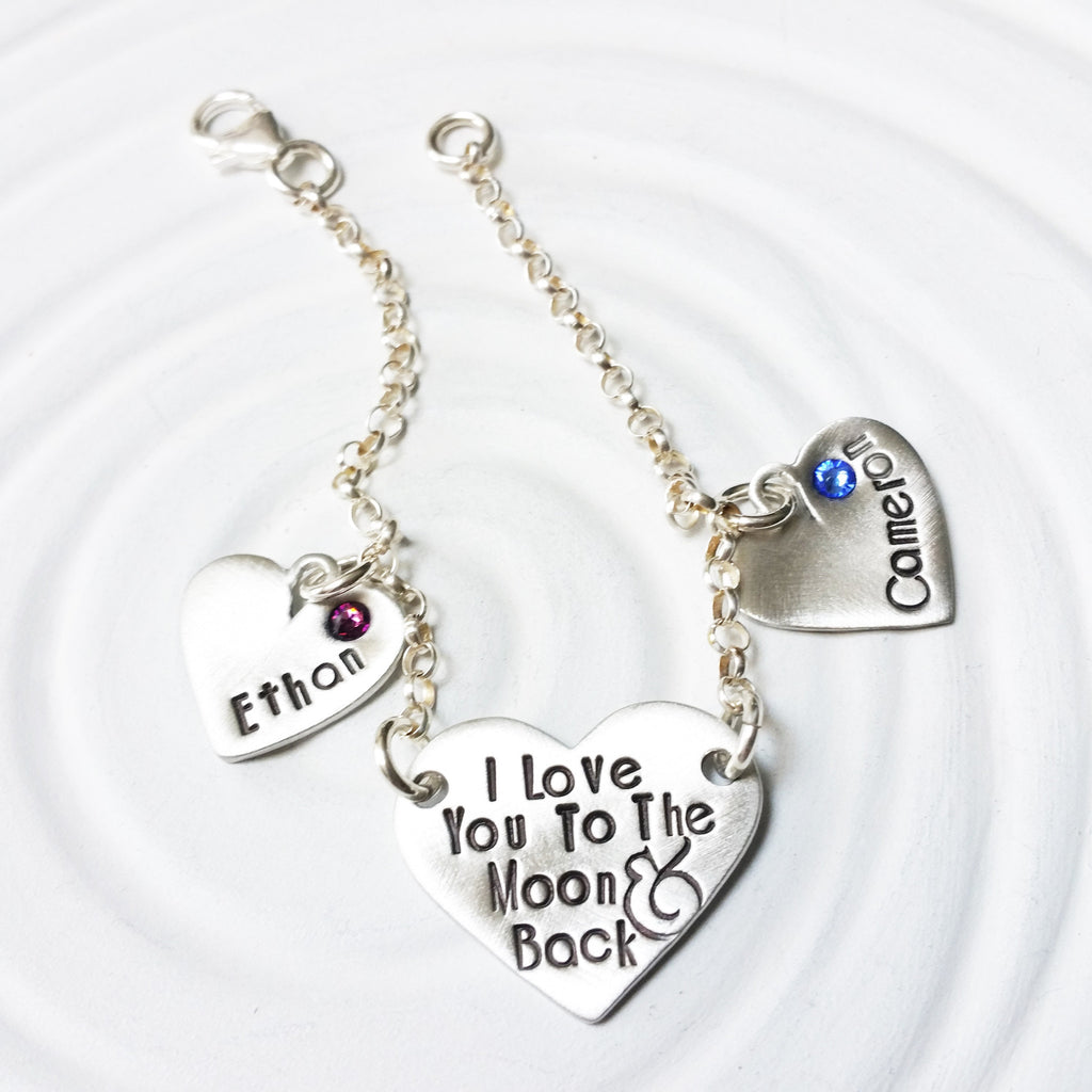 I Love You To The Moon & Back Charm Bracelet | Heart Birthstone Charms