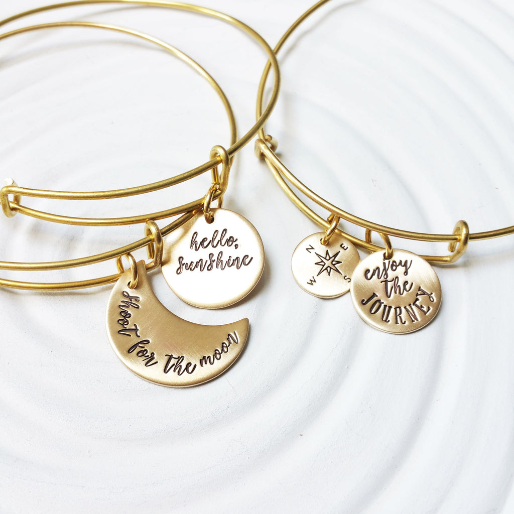 Brass Adjustable Bangle Bracelet | Charm Bracelet