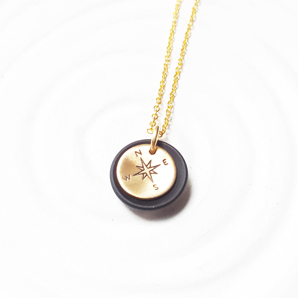 Sea Glass Compass Necklace | Gold Compass Charm
