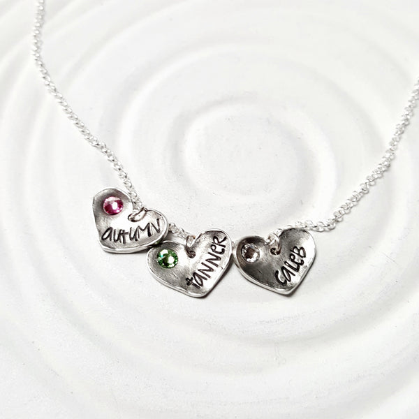 Fixed Heart Necklace | Birthstone Name Necklace