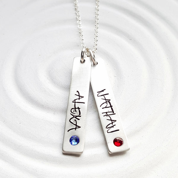 Birthstone Mother's Necklace | Street Art Tag Necklace