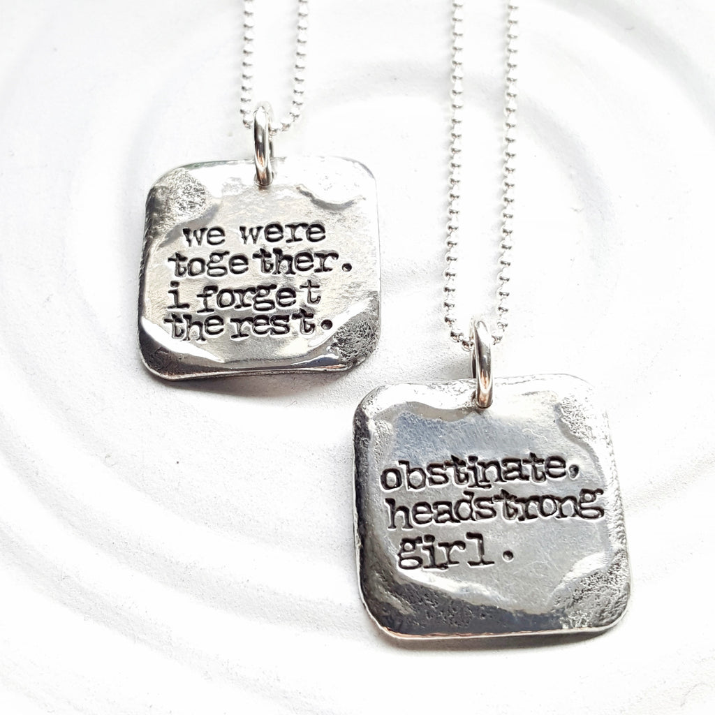 Vintage Page | Small Square Literary Quote Necklace