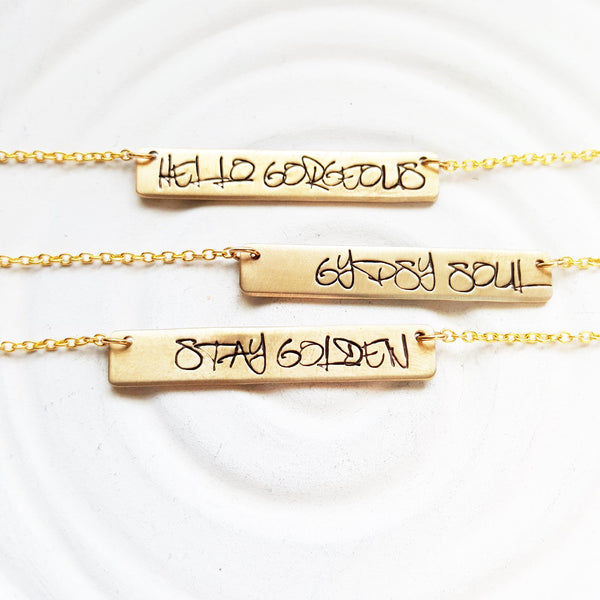 Gold Graffiti Bar Necklace | Custom Text | Golden Glow