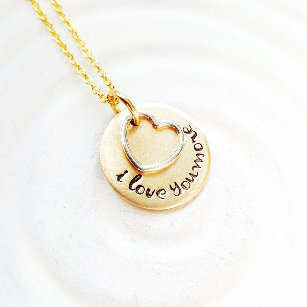 I Love You More | Two Tone Heart Necklace