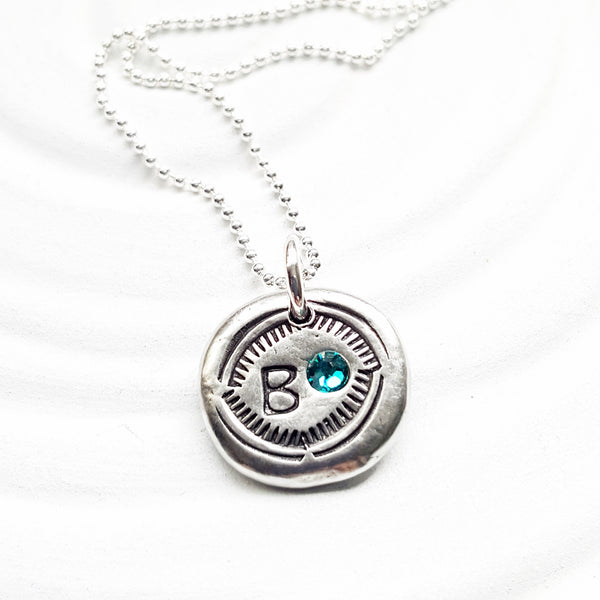 Birthstone Initial Necklace | Navajo Style