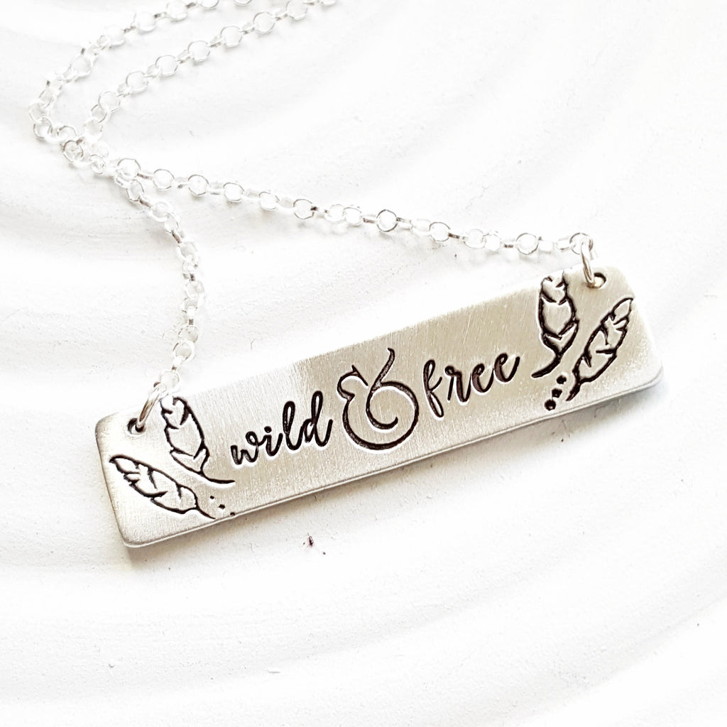 Inspirational Message Necklace | Feather Border