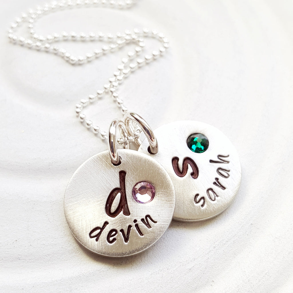 Oversized Initial and Name Necklace | Mother's Charm Necklace