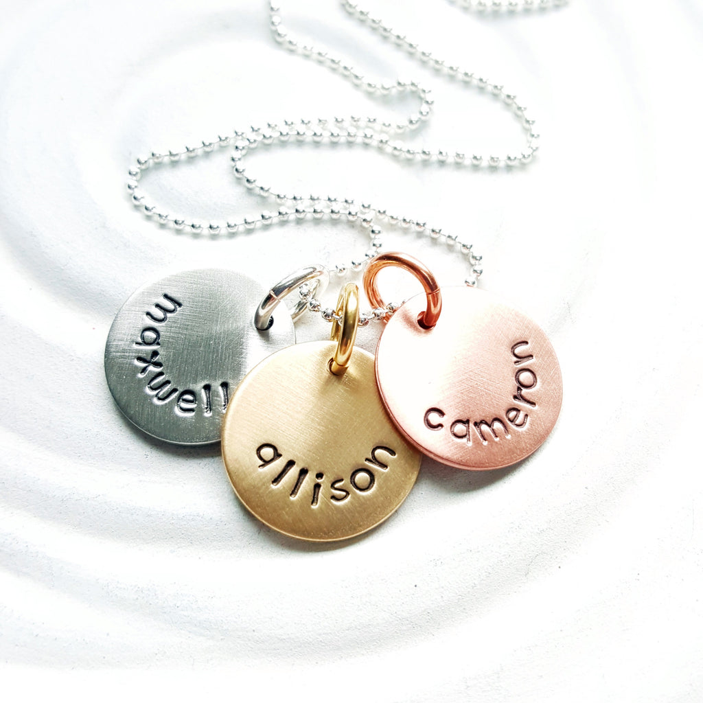 Mixed Metal Disc Necklace | Mother's Name Necklace