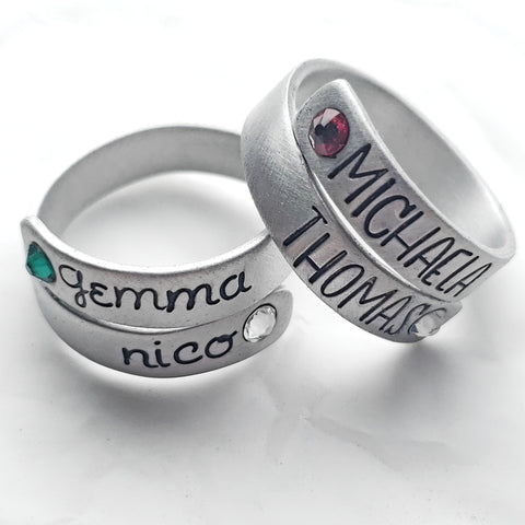 Birthstone Aluminum Wrap Ring - 2 Font Choices