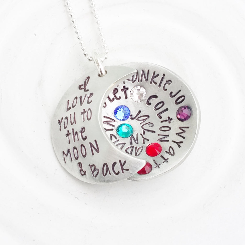 I Love You To The Moon & Back | Birthstone Multi Name Necklace