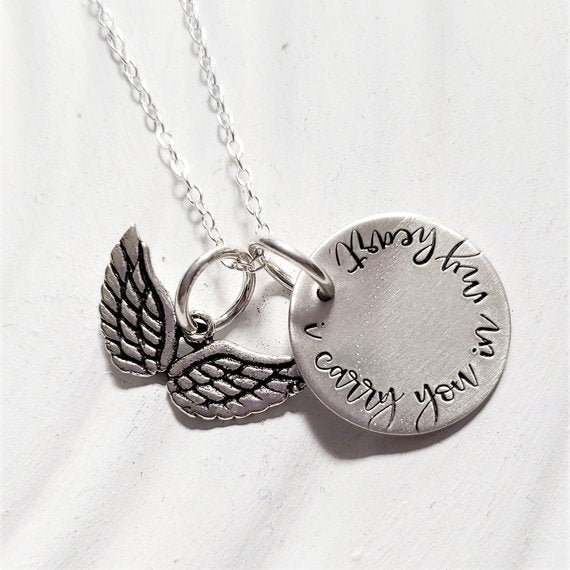 I Carry You In My Heart | Angel Wings Necklace | Memorial Necklace