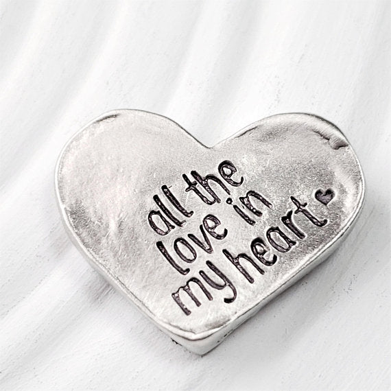 Pewter Heart Shaped Pocket Token | Pocket Pebble