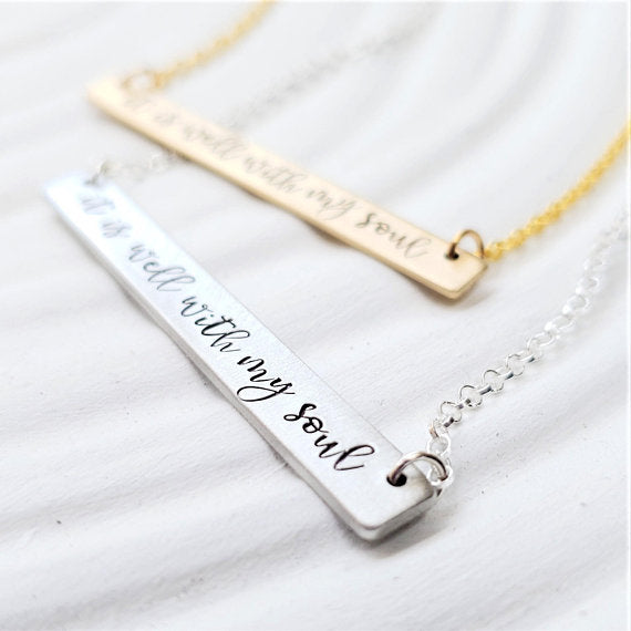 It Is Well With My Soul Necklace | Personalized Bar Necklace