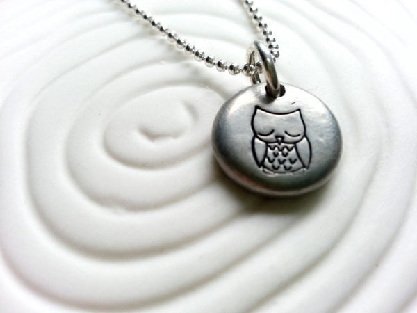 Owl Necklace- Sleeping Baby Owl Personalized Hand Stamped Owl Necklace