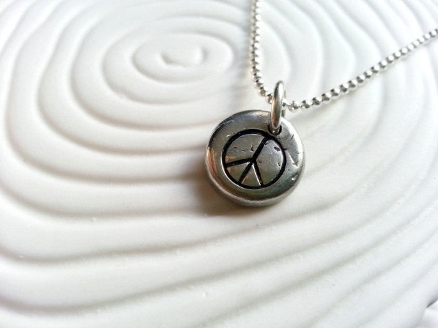 Peace Sign Necklace- Peace Symbol Hand Stamped Necklace