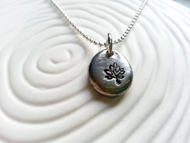 Tree Necklace- Personalized Jewelry- Hand Stamped Necklace