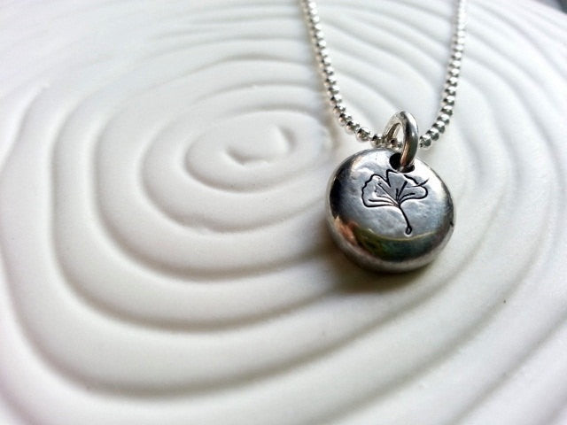 Personalized, Hand Stamped Ginkgo Leaf Necklace