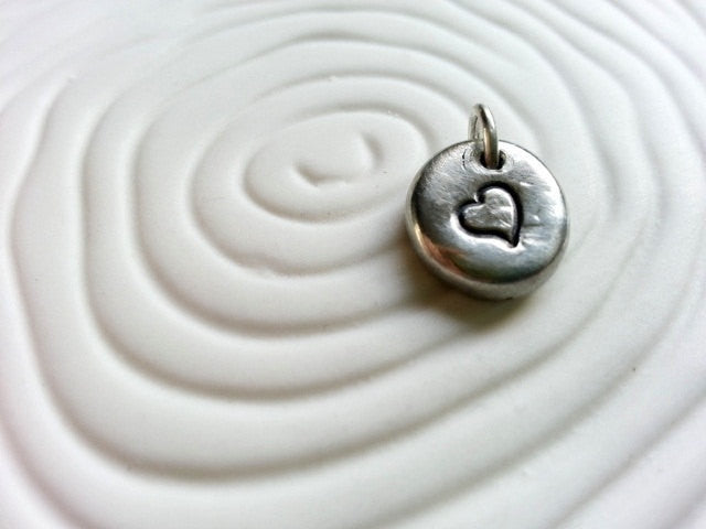 Heart Hand Stamped Personalized Necklace Charm