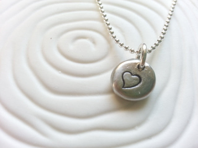 Personalized, Hand Stamped Heart Necklace