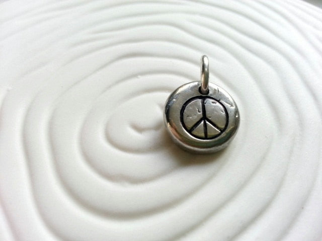 Peace Sign- Hand Stamped Personalized Necklace Charm Peace Symbol