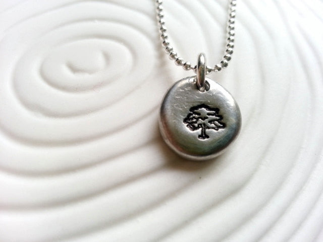 Tree Necklace- Spring Tree Hand Stamped Personalized Jewelry