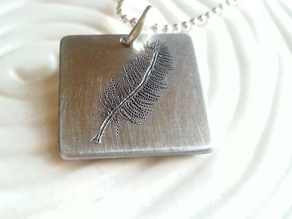 Engraved Feather Necklace- Hand Engraved Feather Design