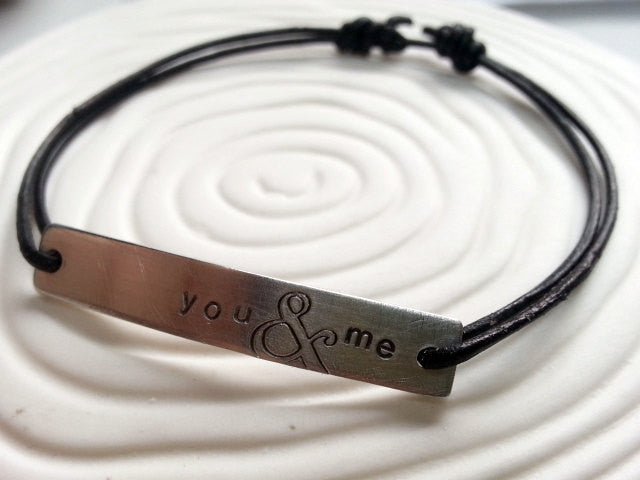 You & Me Personalized Bracelet- Ampersand Design Hand Stamped Bracelet