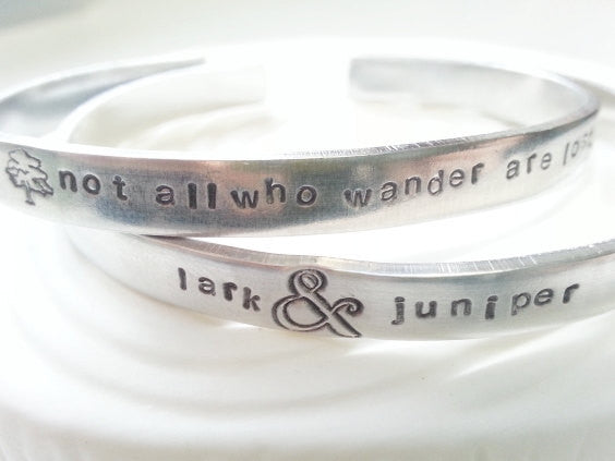 Hand Stamped and Personalized Aluminum Cuff Bracelet: You Choose the Text/Images