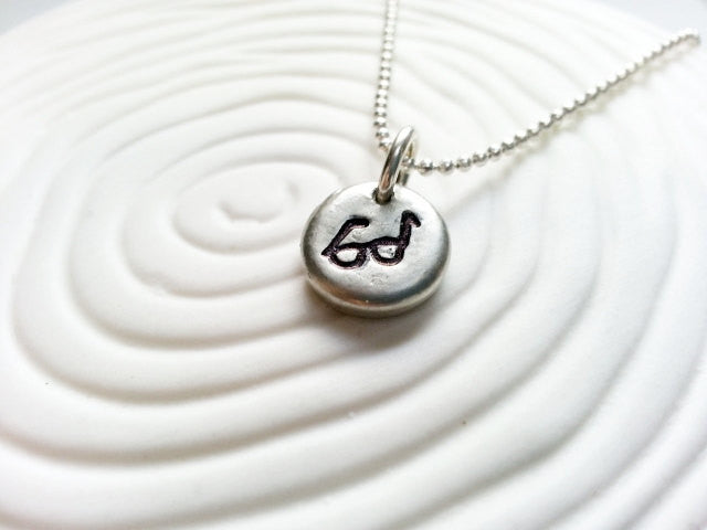 Eye Glasses Necklace- Hand Stamped Personalized Necklace