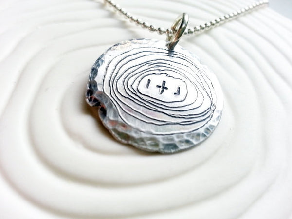 Tree Slice Necklace- Personalized, Hand Engraved Aluminum Wood Grain Necklace