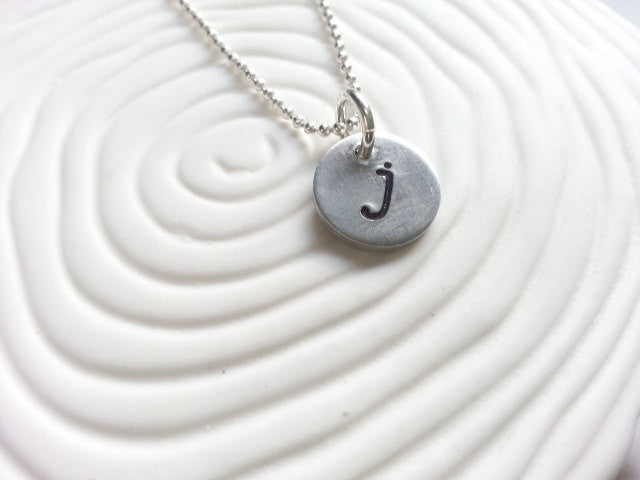 Hand Stamped Personalized Initial Necklace- Lowercase Typewriter Initial