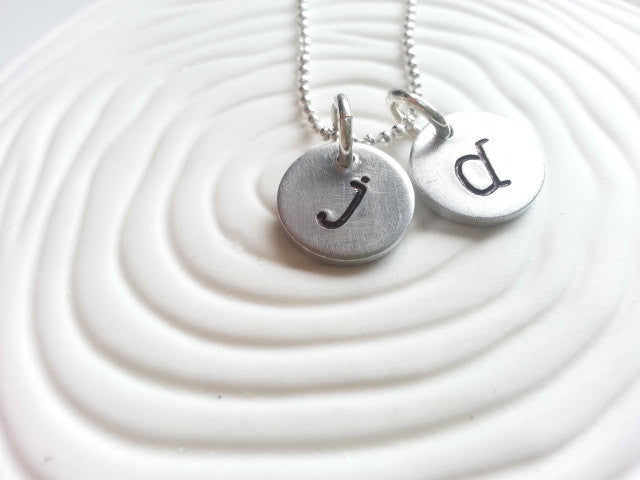Hand Stamped Personalized Initial Necklace- Mother's Necklace - Typewriter Initial Necklace - Disc Necklace - Gift for Her